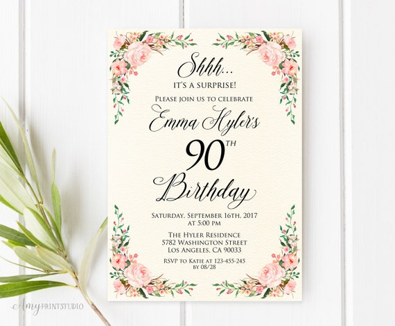 Surprise 90th Birthday Invitation Ivory Floral