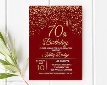 70th Birthday Invitation, Red Gold Birthday Invitation, Red and Gold Birthday Invite, PERSONALIZED, Digital file, #W86