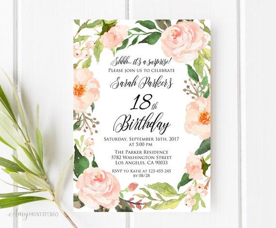 18th Birthday Invitation Floral Birthday Invitation Etsy