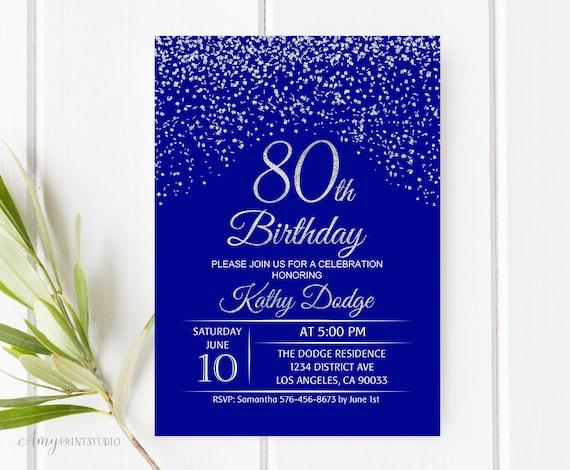 80th birthday invitation royal blue silver birthday etsy