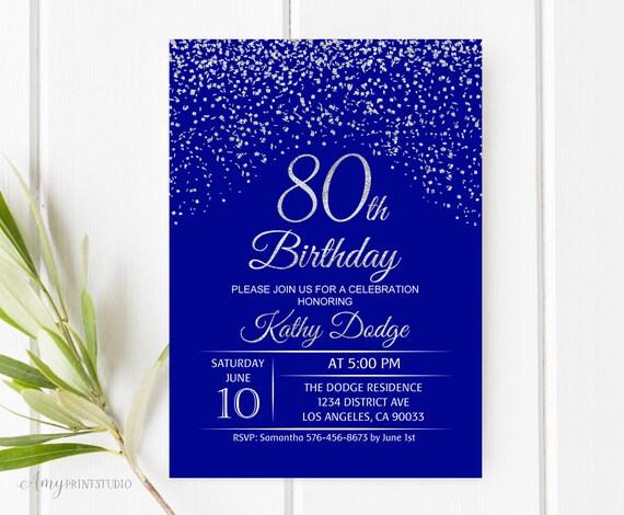 80th birthday invitation royal blue silver birthday
