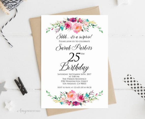 Surprise 25th Birthday Invitation Floral