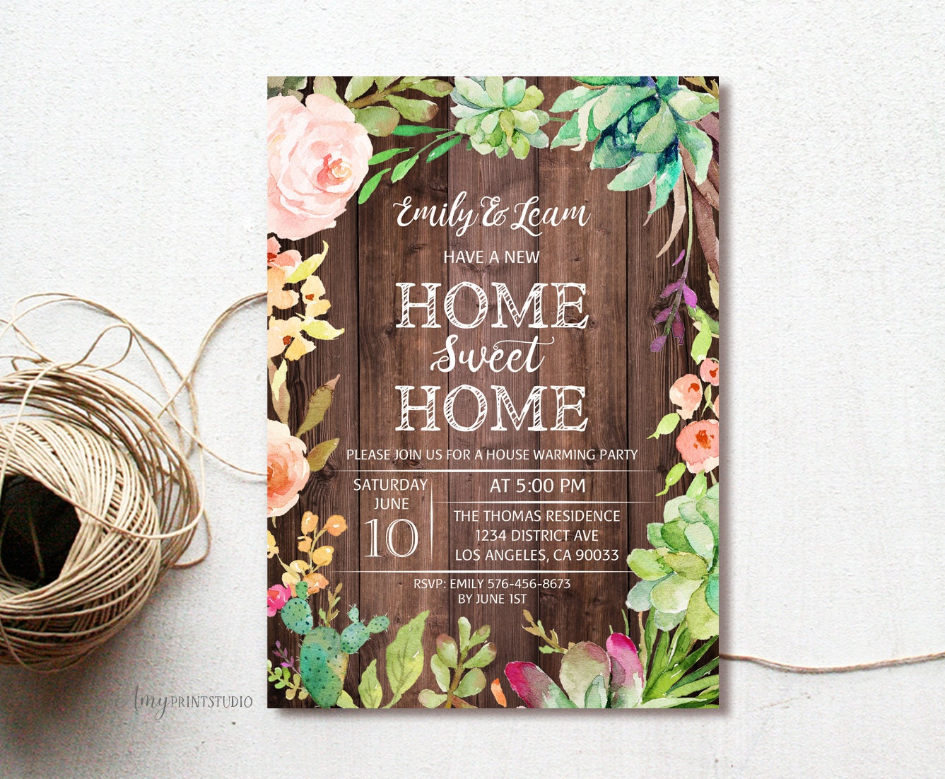 House Warming Invitation House Warming Party Invite Wood New Etsy