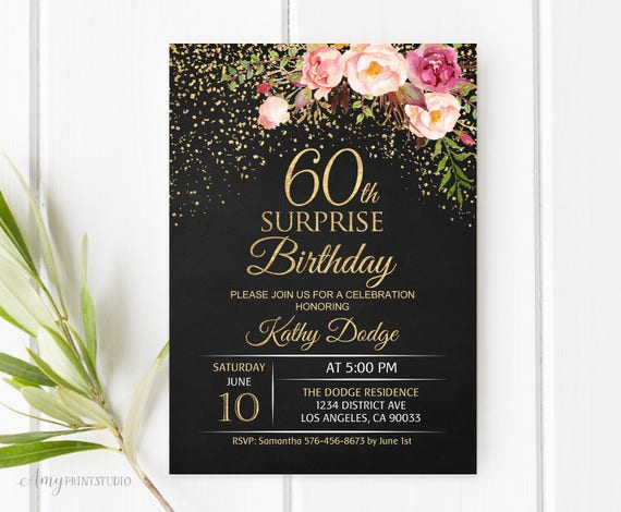 60th Surprise Birthday Invitation Floral Women Birthday Etsy