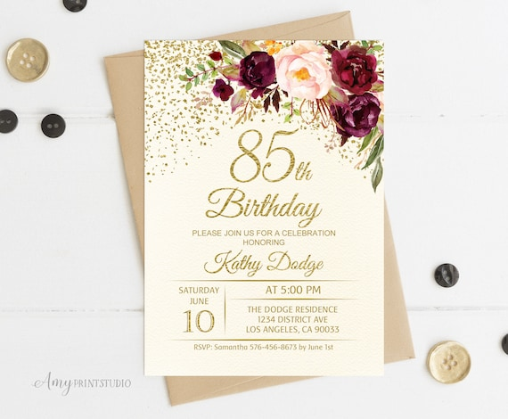 85th Birthday Invitation Floral Ivory