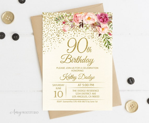 90th Birthday Invitation Floral Ivory