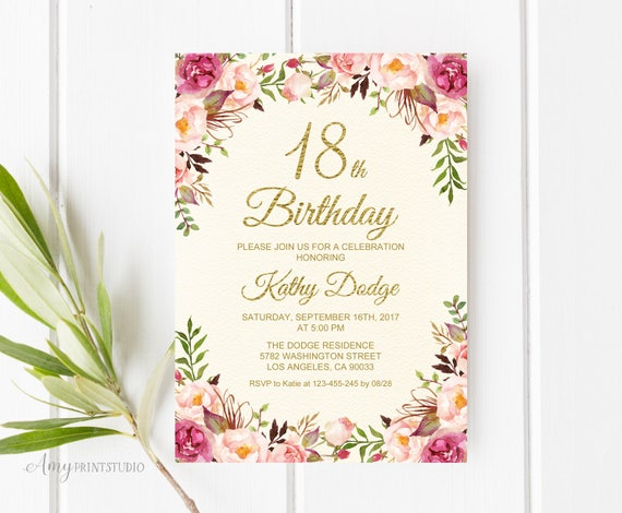 18th Birthday Invitation Floral Cream