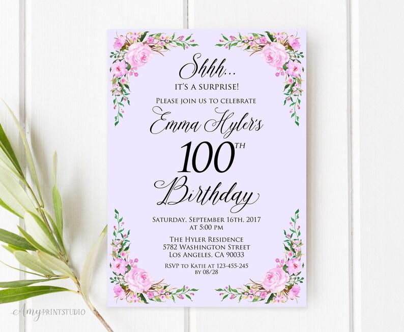 Surprise 100th Birthday Invitation Lavender Birthday Etsy