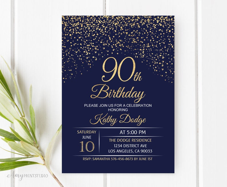 90th Birthday Invitation Navy Gold Blue