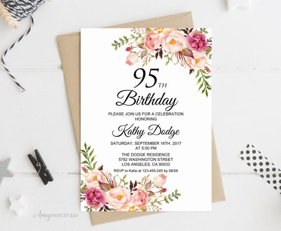 95th Birthday Invitation Floral Women