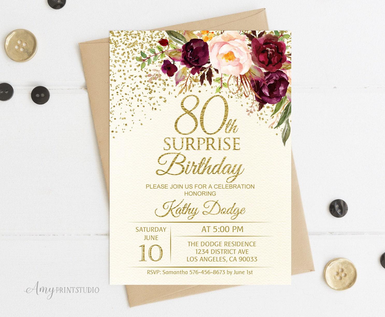 80th Surprise Birthday Invitation Floral Ivory Birthday | Etsy