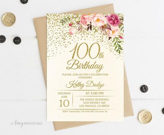 100th Birthday Invitation Floral Ivory Birthday Invitation Etsy