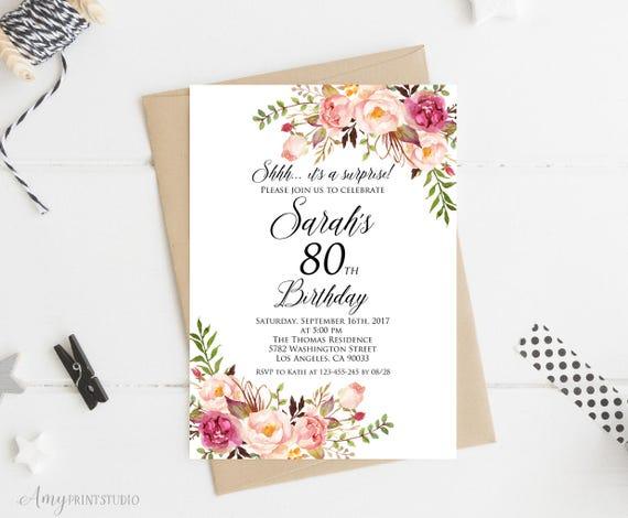 Surprise 80th Birthday Invitation Women
