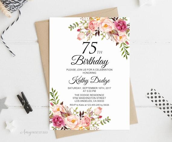 75th birthday invitation floral women birthday invitation etsy