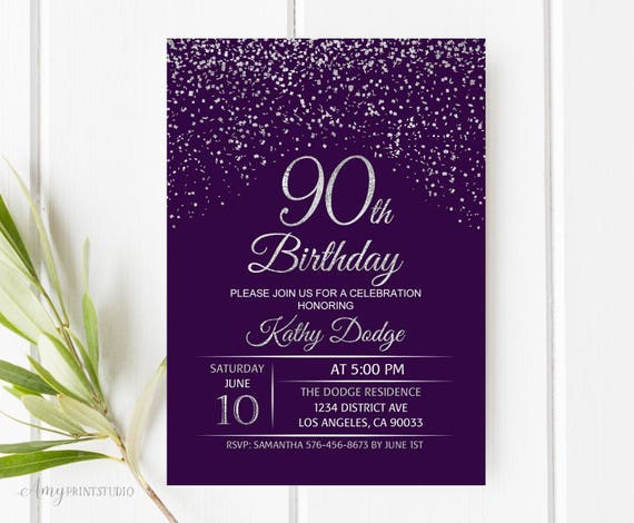 90th Birthday Invitation Purple Silver