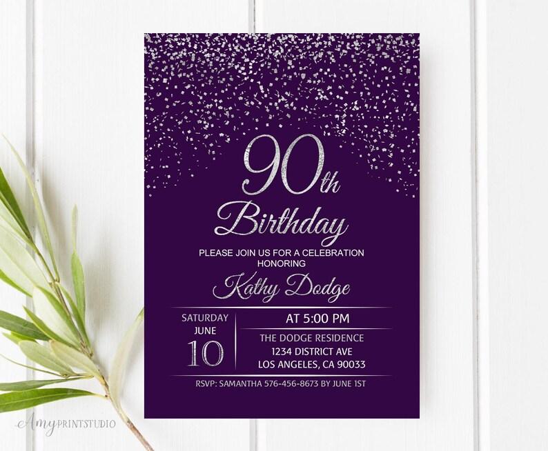 90th Birthday Invitation Purple Silver