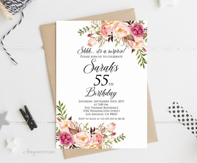Surprise 55th Birthday Invitation Women Any Age Invite PERSONALIZED Digital File W01