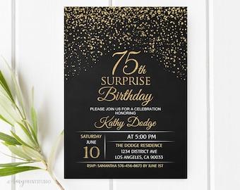 75th Birthday Invitation, Gold Birthday Invitation, Chalkboard Birthday Invite, PERSONALIZED, Digital file, #W15