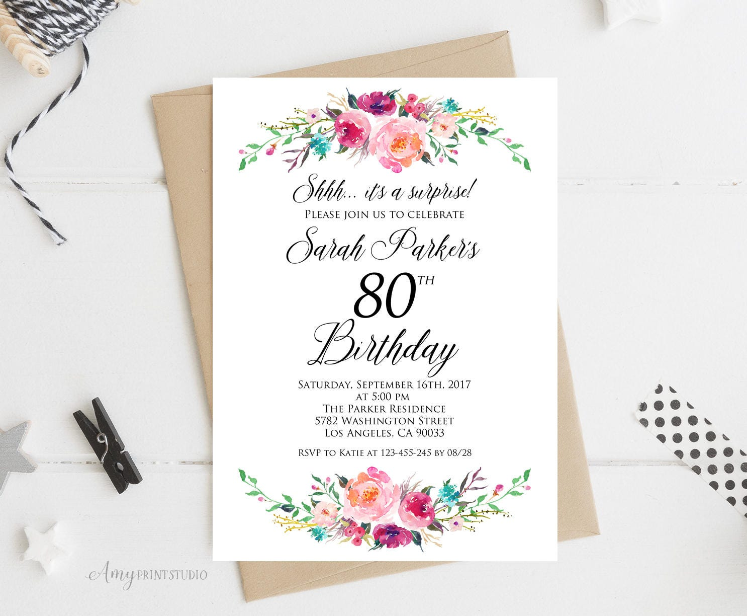 Surprise 80th Birthday Invitation Floral Birthday Invitation | Etsy