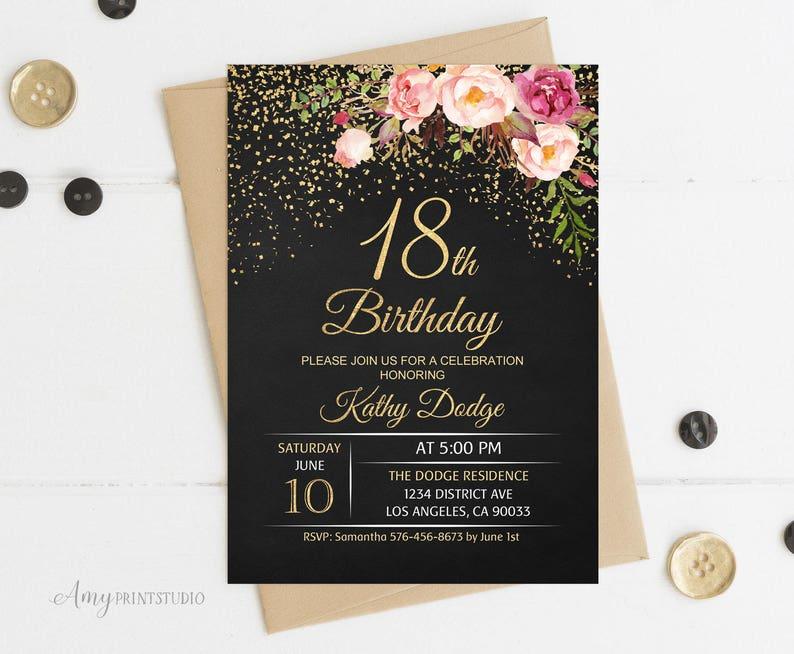 18th Birthday Invitation Floral Women Birthday Invitation Etsy