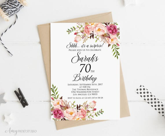 Surprise 70th Birthday Invitation Women