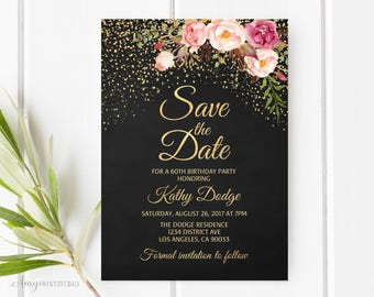 Save the Date, Birthday Save the Date, Floral Chalkboard Save the Date, PERSONALIZED, Digital file, #S16