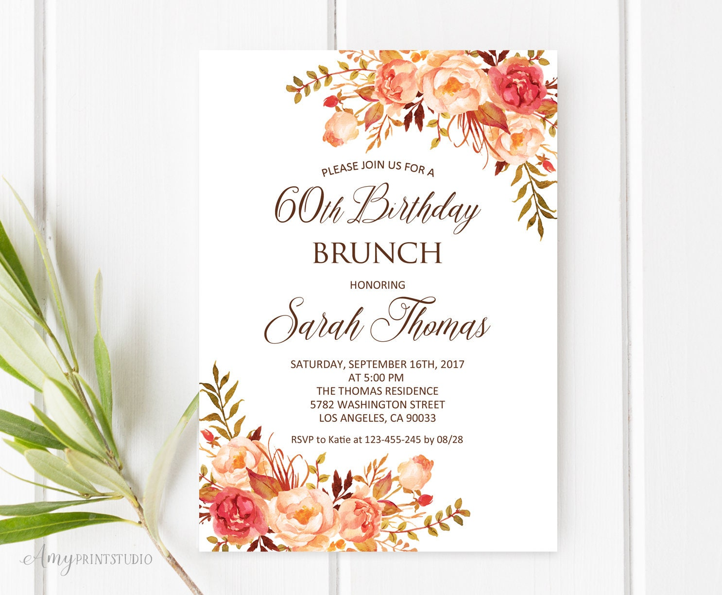 Birthday Brunch Invitation 60th Birthday Invitation Fall | Etsy