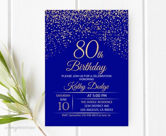 80th Birthday Invitation Royal Blue Gold Birthday Invitation Etsy