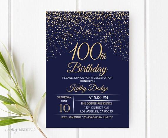 100th birthday invitation navy gold birthday invitation blue etsy