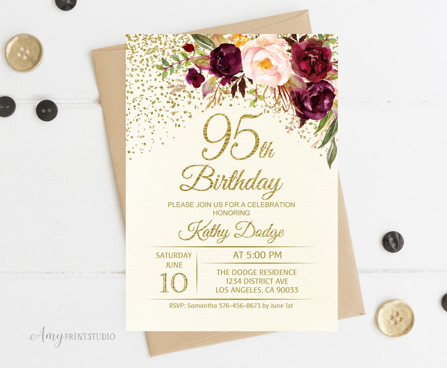 95th Birthday Invitation Floral Ivory Birthday Invitation Etsy