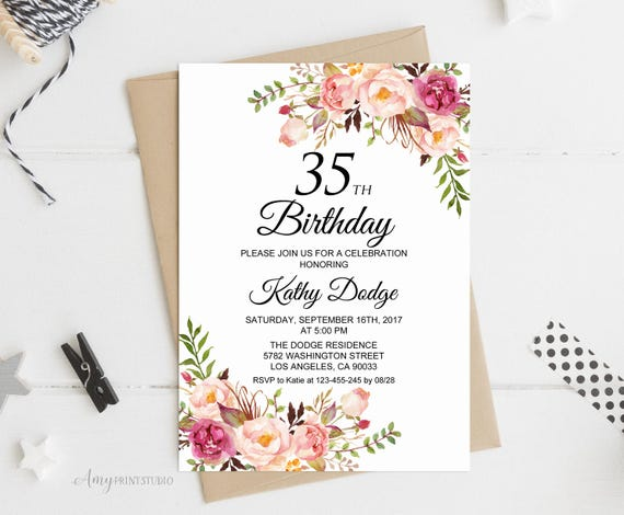 35th Birthday Invitation Floral Women