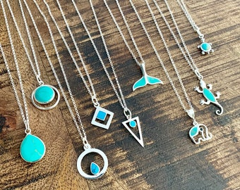 Turquoise Necklace, Necklaces For Women, Turquoise Jewelry, Dainty Necklace, Turquoise Pendant, Silver Necklace, Turquoise Stone Necklace