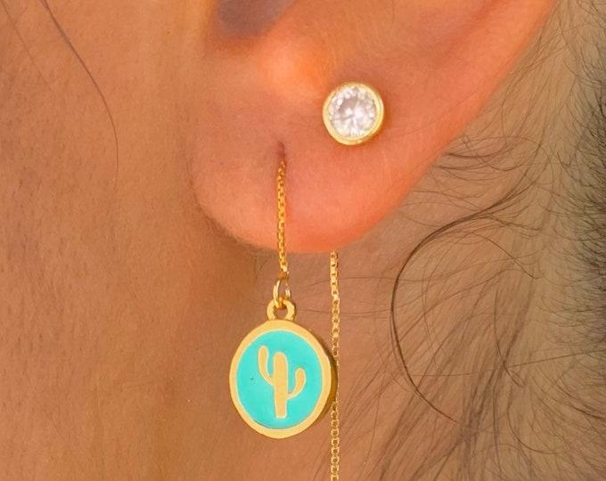 Cactus Earrings, Dainty Gold Earrings, Gold Charm Earrings, Threader Earrings, Cactus Jewelry, Long Chain Earrings, Minimalist Gold Earrings