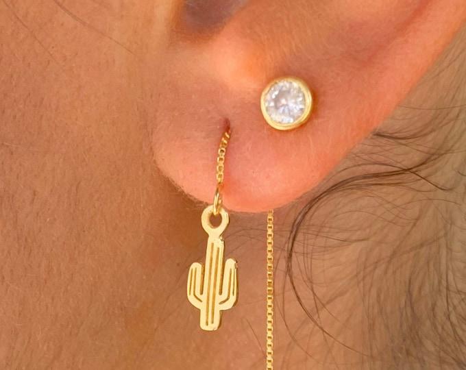 Cactus Earrings, Gold Charm Earrings, Threader Earrings, Cactus Jewelry, Long Chain Earrings, Dainty Earrings, Minimalist Gold Earrings