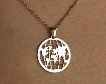 Silver World Map Necklace For Women - Dainty Gold Traveler Pendant To Gift For Her - Minimalist World Jewelry