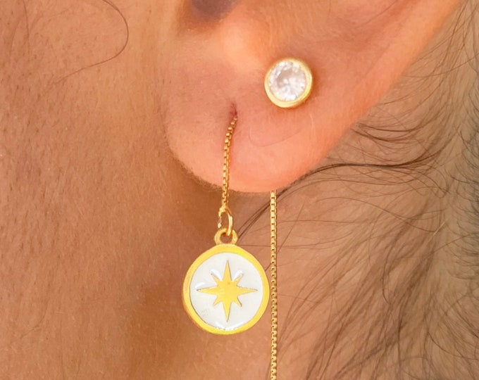 Star Gold Earrings, Dainty Gold Earrings, Gold Charm Earrings, Threader Earrings, Star Jewelry, Long Chain Earrings, Minimalist Earrings