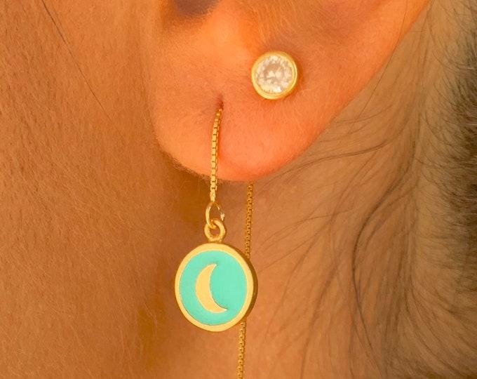 Moon Gold Earrings, Gold Charm Earrings, Dainty Gold Earrings, Moon Earrings, Moon Jewelry, Long Chain Earrings, Minimalist Earrings