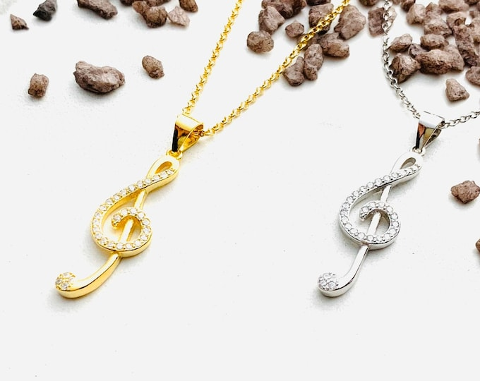 CZ Treble Clef Gold Necklace For Women - Dainty Silver Music Note Charm Necklace To Gift For Her - Minimalist Music Note Jewelry