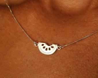 Necklaces For Women, Watermelon Necklace, Dainty Necklace, Fruit Necklace, Silver Necklace, Watermelon Pendant, Fruit Pendant, Charm