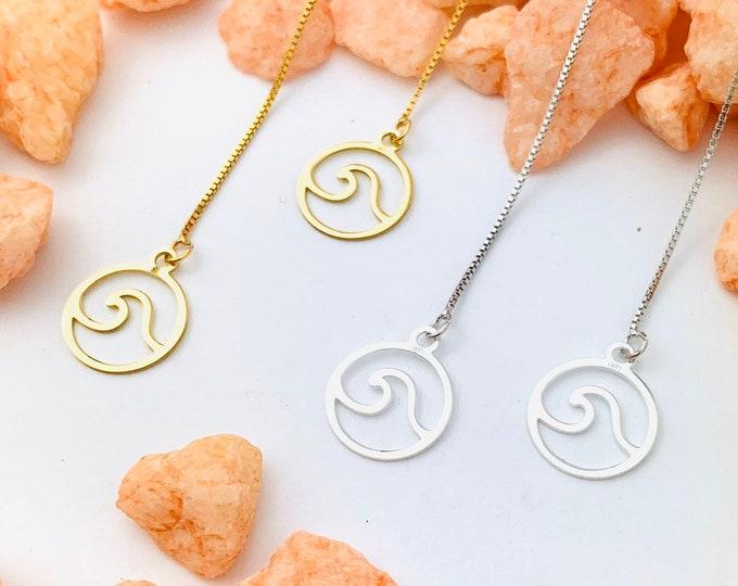 Wave Earrings, Dainty Gold Earrings, Gold Charm Earrings, Threader Earrings, Wave Jewelry, Long Chain Earrings, Minimalist Gold Earrings