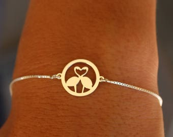Sterling Silver Flamingo Charm Bracelet For Women - Flamingo Jewelry To Gift For Her - Dainty Silver Animal Bracelet