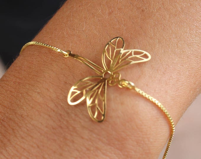 Gold Dragonfly Charm Bracelet For Women - Dainty Dragonfly Jewelry - Minimalist Dragonfly Gold Bracelet - Gift For Girlfriend