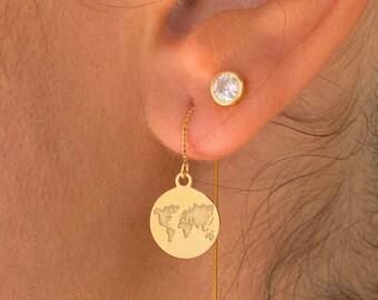 World Map Earrings, Dainty Gold Earrings, Gold Charm Earrings, Threader Earrings, World Jewelry, Long Chain Earrings, Minimalist Earrings