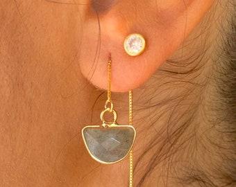 Labradorite Earrings, Dainty Gold Earrings, Gold Labradorite Earrings, Threader Earrings, Labradorite Jewelry, Long Chain Earrings, Gemstone
