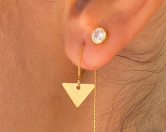 Triangle Earrings, Gold Charm Earrings, Threader Earrings, Triangle Jewelry, Long Chain Earrings, Dainty Earrings, Minimalist Earrings