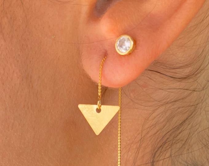 Triangle Earrings, Gold Charm Earrings, Threader Earrings, Triangle Jewelry, Long Chain Earrings, Dainty Earrings, Minimalist Earrings