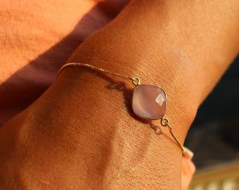 Dainty Bracelet, Amethyst Bracelet, Minimalist Bracelet, Layered Bracelet, Tiny Bracelet, 24kt Gold Bracelet, Gift For Her, Stone Bracelet