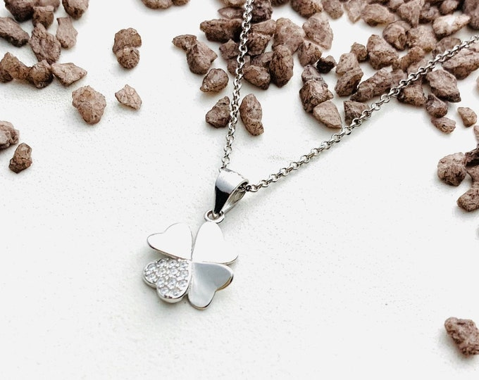 Cz Necklace - Clover Necklace For Women - Dainty Silver Necklace - Minimalist Pendant - Gift For Her - Charm Necklace - Clover Jewelry