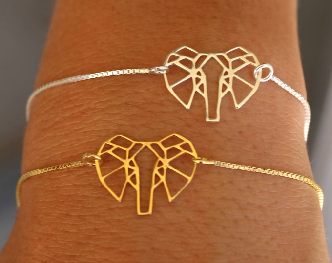Gold Elephant Bracelet For Women - Silver Elephant jewelry - Gift For Her - Minimalist Animal Bracelet - Charm Bracelet - Gold Bracelet