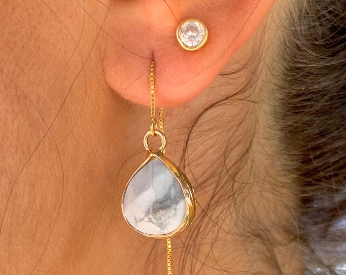 Howlite Earrings, Dainty Gold Earrings, Gold Howlite Earrings, Threader Earrings, Howlite Jewelry, Long Chain Earrings, Gemstone Earrings